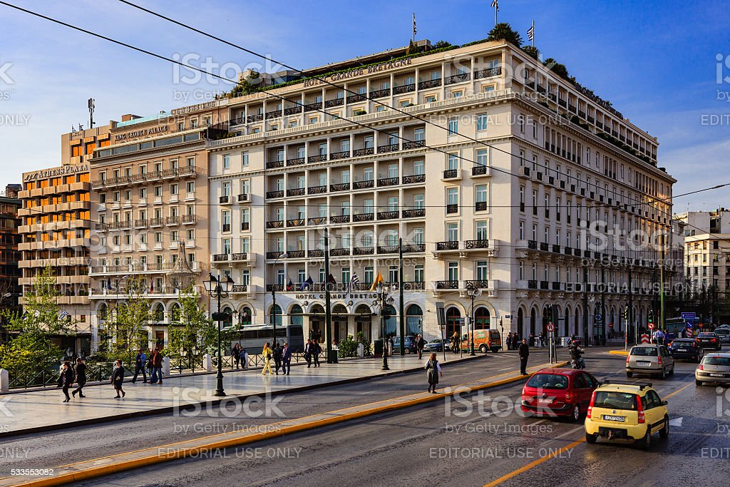 Athens, Greece: Hotel Grand Bretagne on Syntagma Square at sunset stock photo