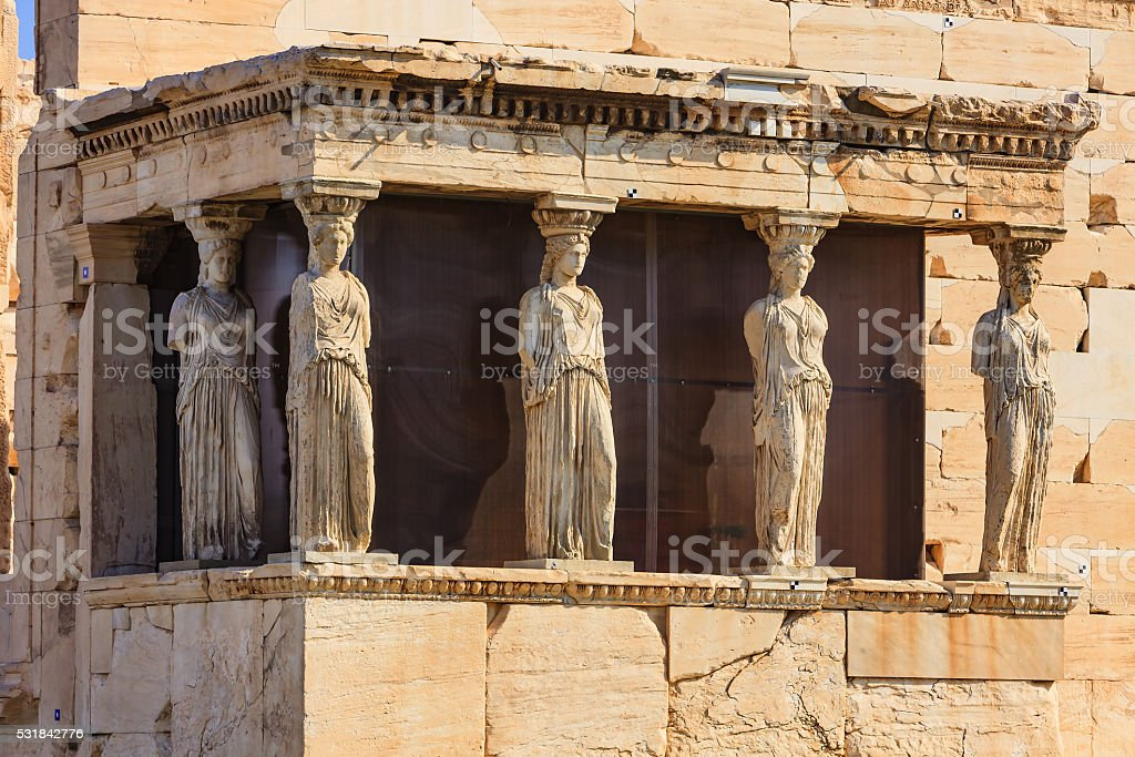 Athens, Greece - Karyatids Porch on the Acropolis stock photo