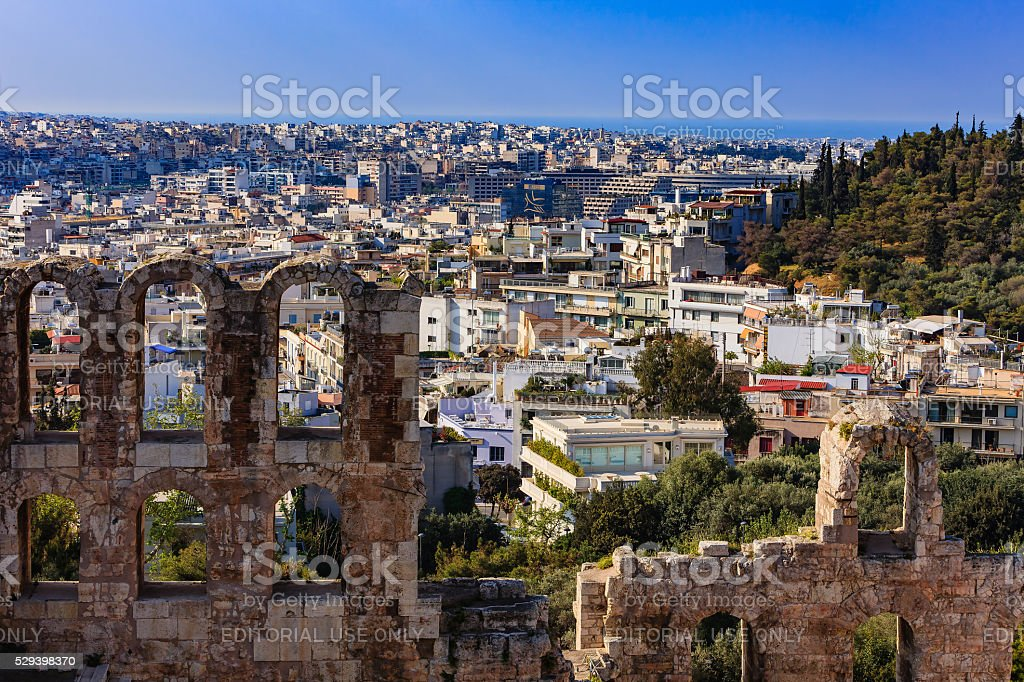 Athens, Greece: Looking across ruined facade of Odeon Herodes Atticus stock photo