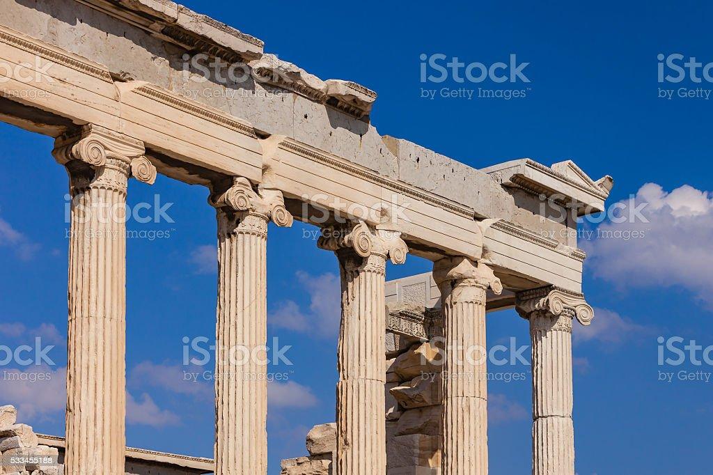 Athens Greece: Marble columns of the Erechtheion on the Acropolis stock photo