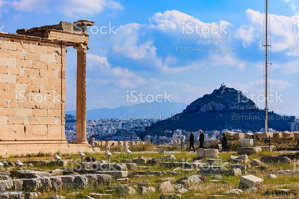 Athens, Greece - Mount Lycabettus viewed from the Acropolis stock photo