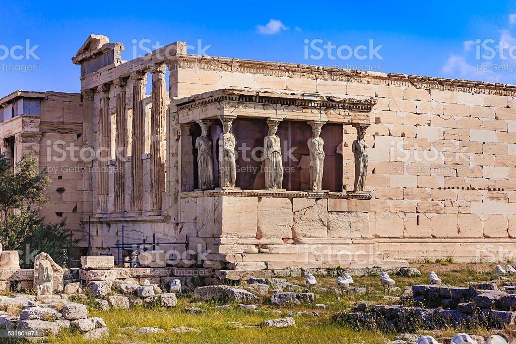 Athens, Greece: Temple of Erechtheion and Caryatids Porch on Acropolis stock photo