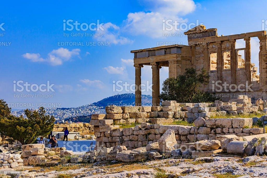 Athens, Greece - Temple of Erechtheion at the Acropolis. stock photo