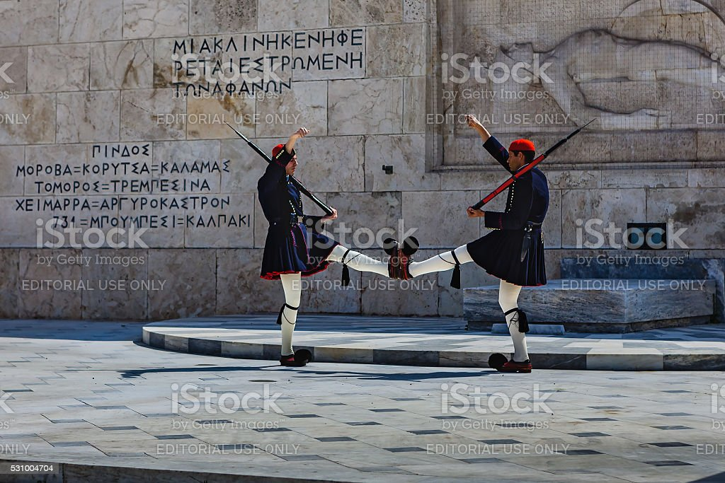 Athens, Greece - Ceremonial Guard at Tomb of Unknown Soldier stock photo