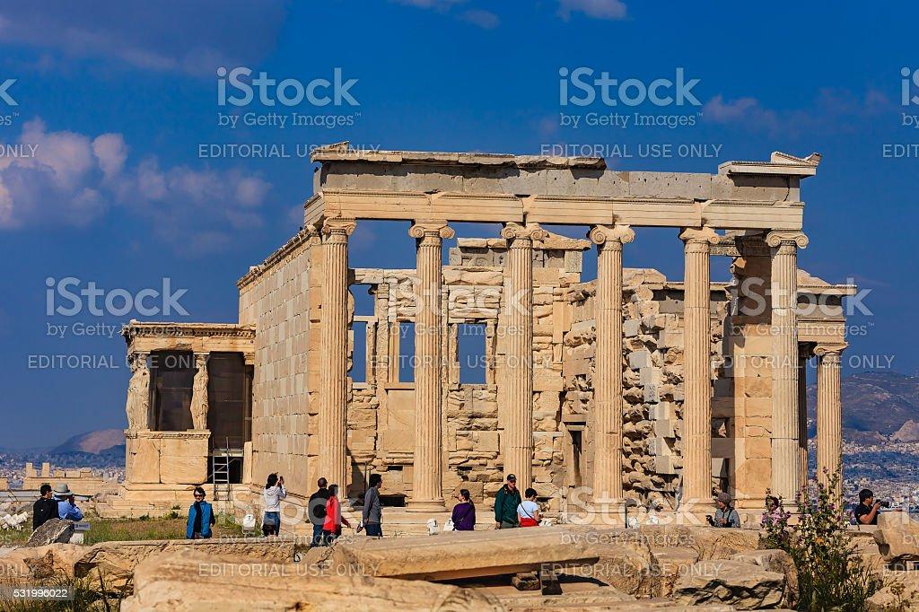 Athens, Greece - The Erectheion; North side of Athenian Acropolis stock photo