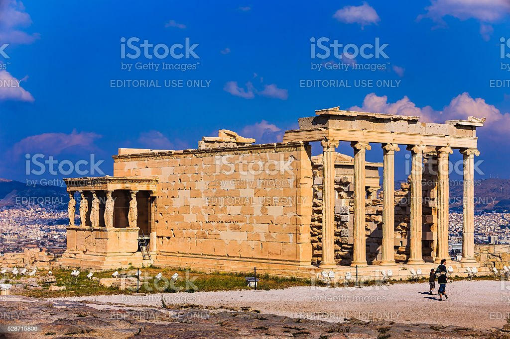 Athens, Greece - The Erectheion; North side of the Acropolis stock photo