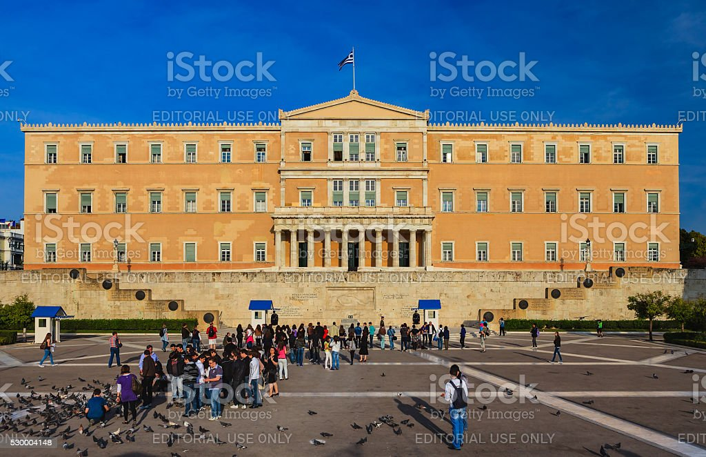 Athens, Greece - The Greek Parliament; once King Otho's Palace stock photo