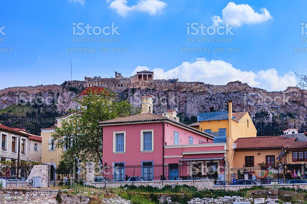 Athens, Greece - The Parthenon from Monastiraki stock photo