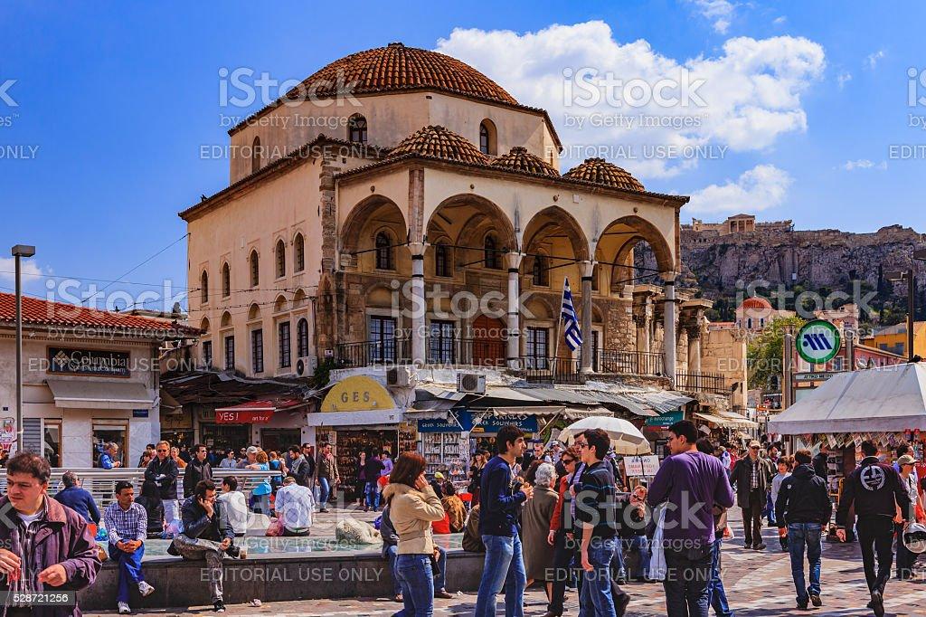 Athens, Greece - Tzistarakis Mosque and people on Monastiraki Square stock photo