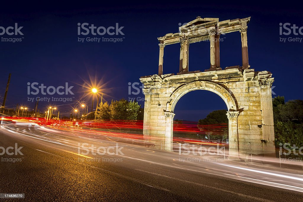 Athens Hadrian Arch Temple of Olympian Zeus royalty-free stock photo
