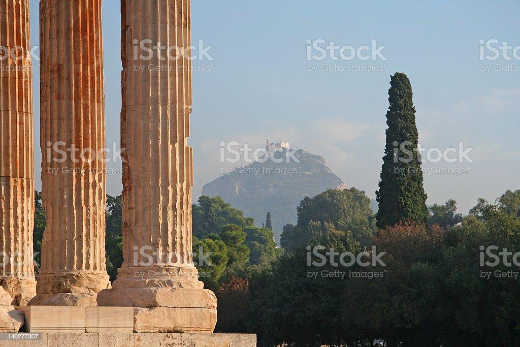 Athens Landmarks - Temple of Zeus royalty-free stock photo