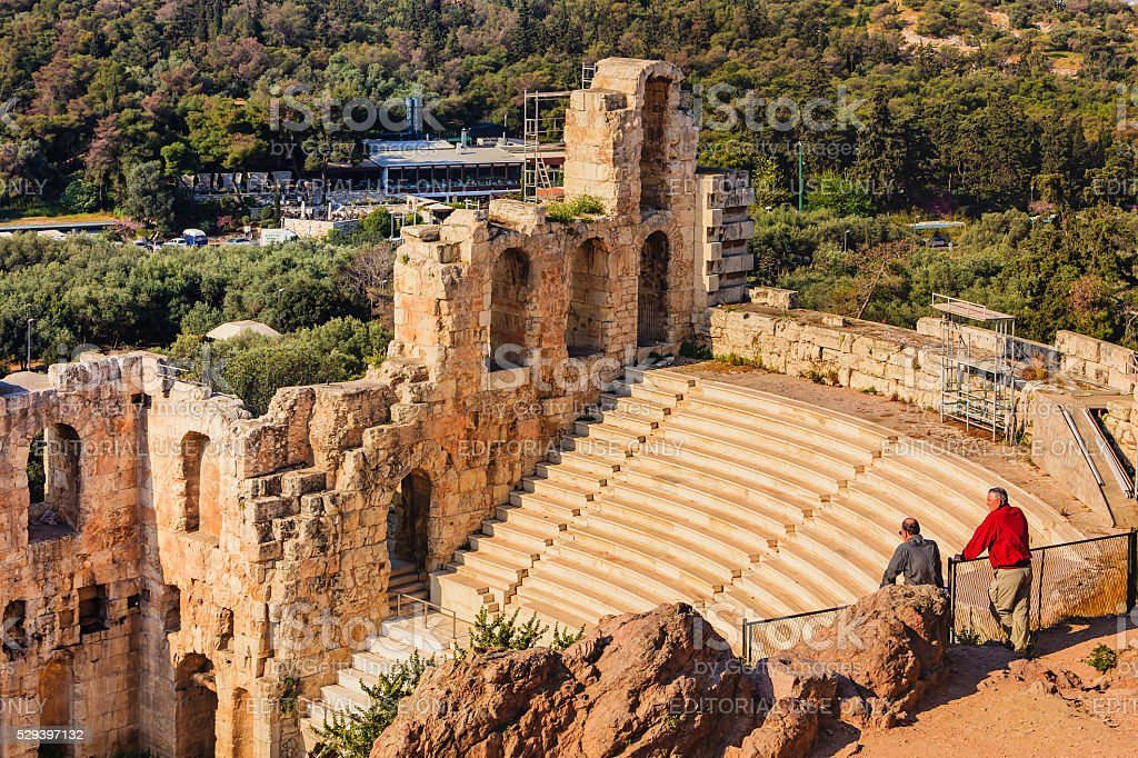Athens - Odeon of Herodes Atticus at the ancient Acropolis. stock photo