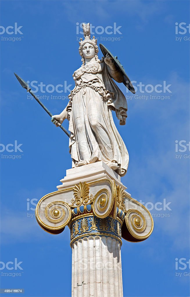 Athens - statue of Athena in front of National Academy stock photo