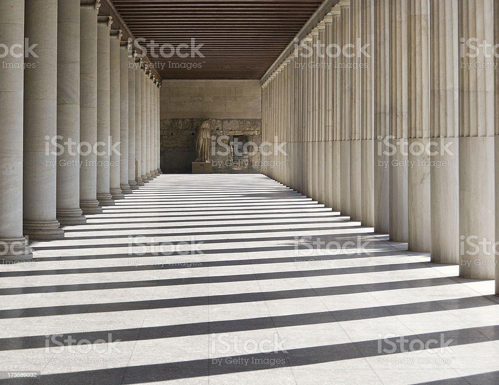 Athens: Stoa Shadows stock photo