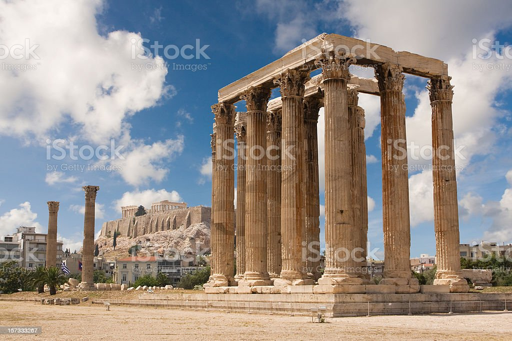 Athens, Temple of Zeus and Acropolis stock photo