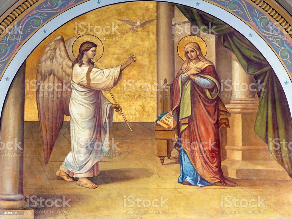 Athens - The fresco of Annunciation stock photo