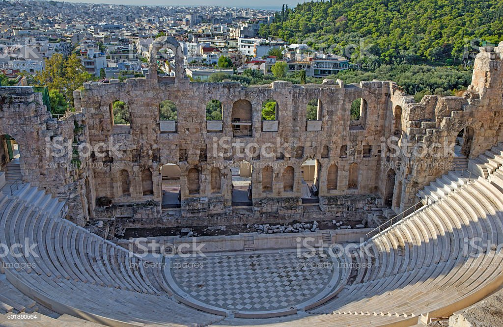 Athens - The Odeon of Herodes Atticus or Herodeon stock photo