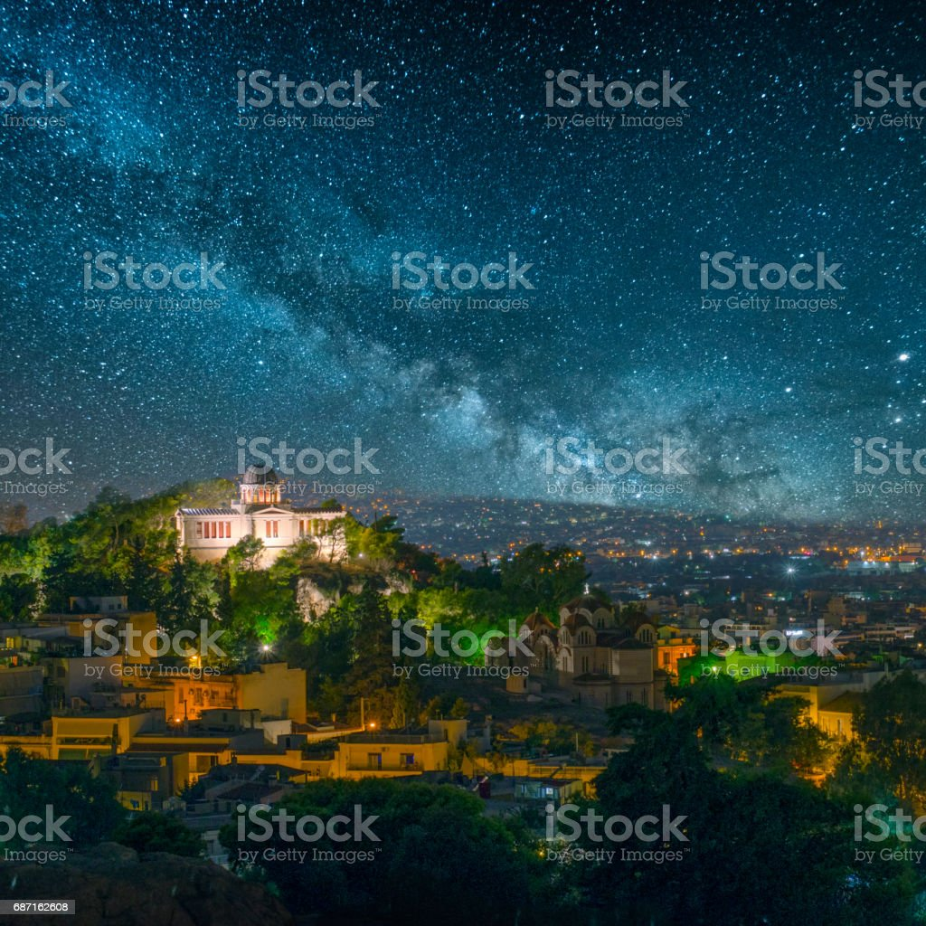 The city of Athens, Greece, under a beautiful starry sky