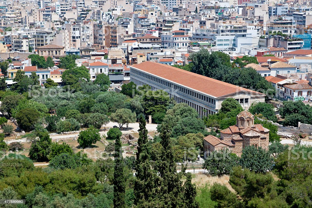 Athens viewed from the Areopagus hill stock photo