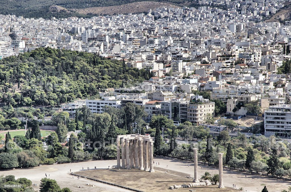 Athens with Temple of Olympian Zeus stock photo