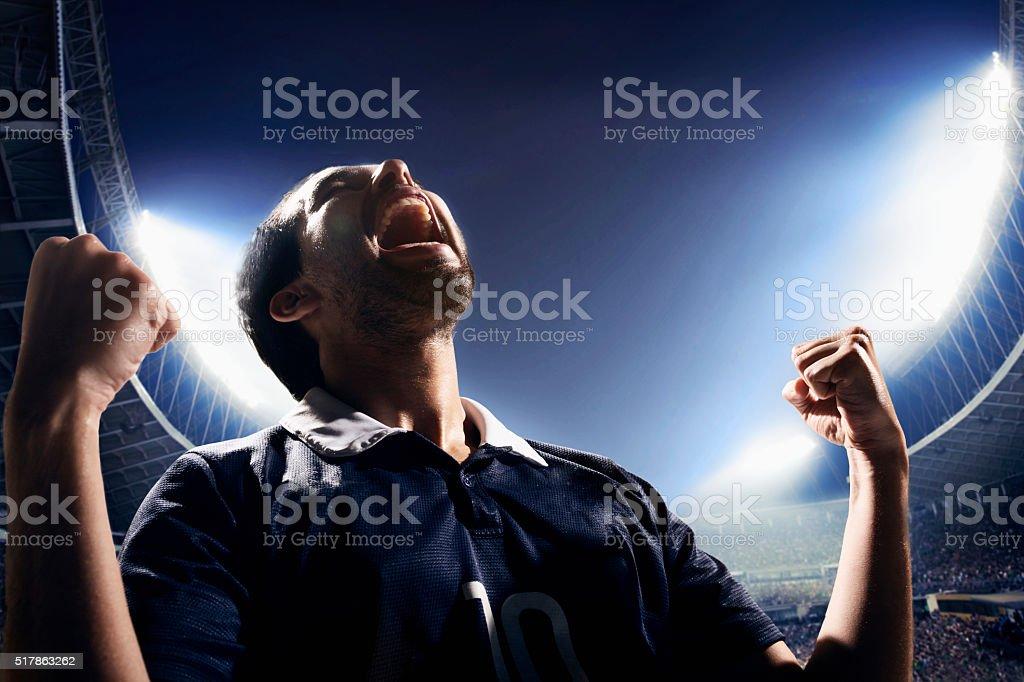 Athlete cheering stock photo