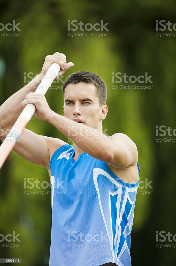 Athlete concentrating at Pole Vault competition royalty-free stock photo