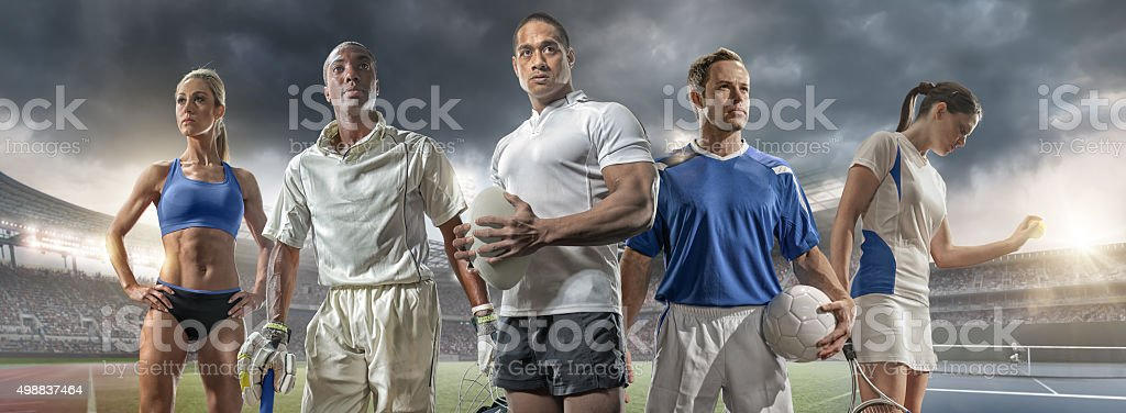 Athlete, Cricketer, Rugby Player, Footballer and Tennis Player stock photo