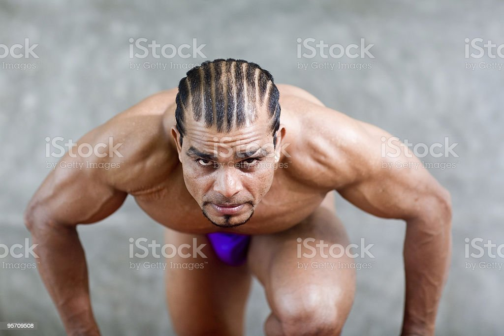 athlete determined to win stock photo