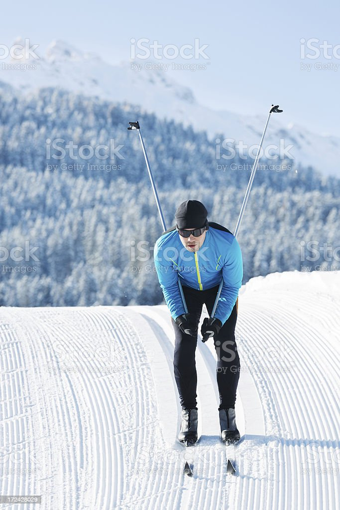 Athlete Doing Cross-Country Skiing royalty-free stock photo