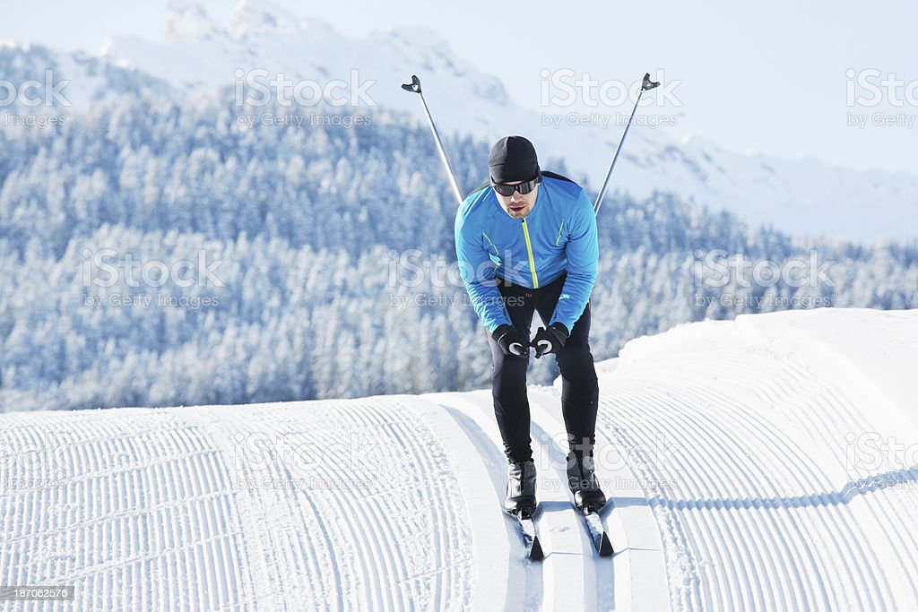 Athlete Doing Cross-Country Skiing stock photo