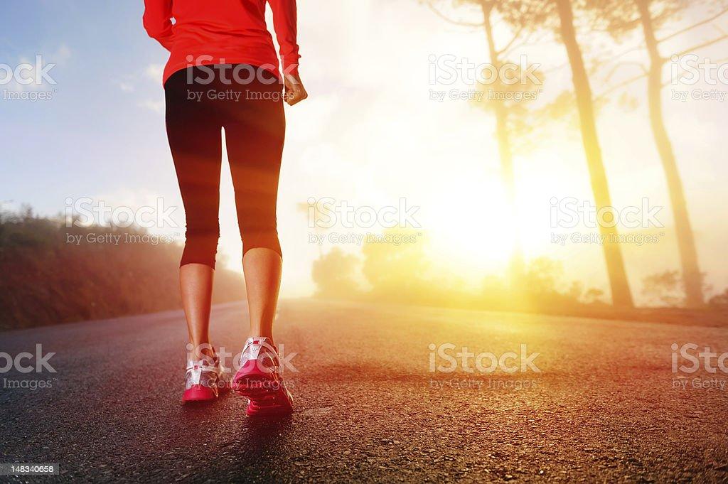 Athlete feet on road royalty-free stock photo
