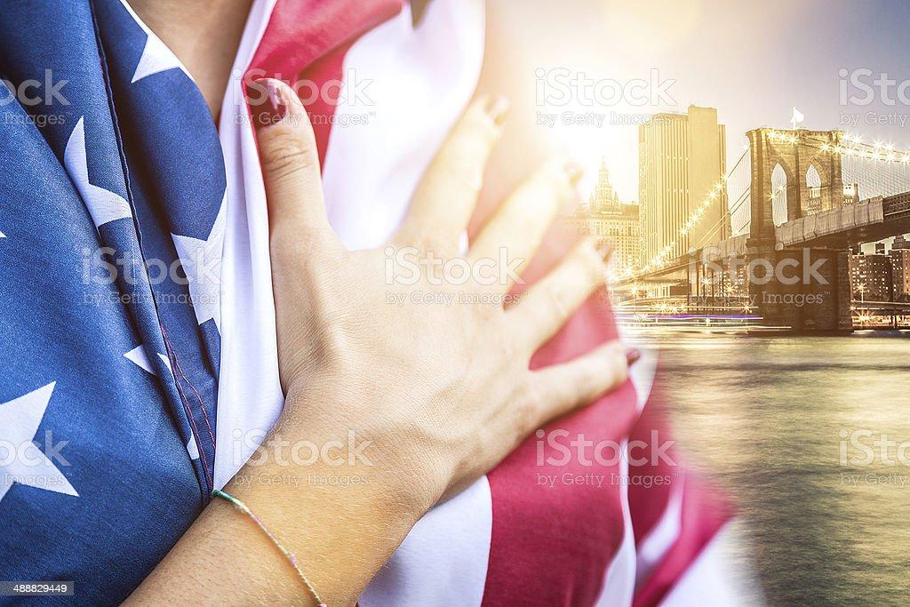 US athlete holding national flag stock photo