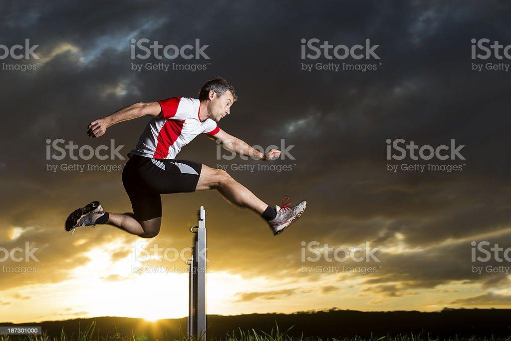 athlete in hurdling stock photo
