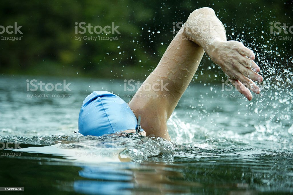 Athlete in open water stock photo