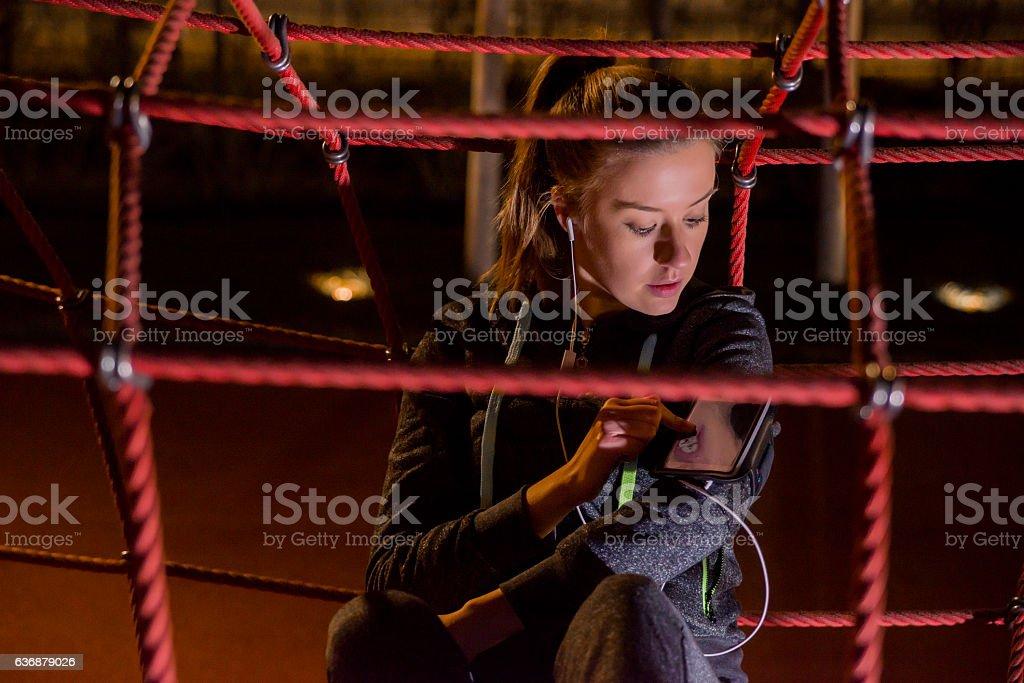 Athlete listening music stock photo