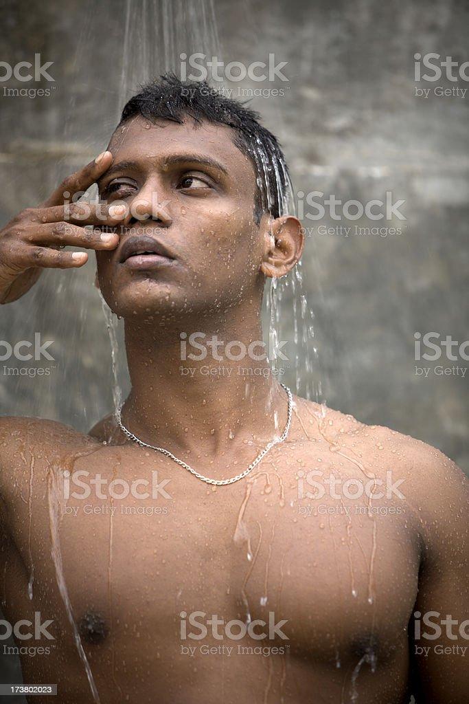 athlete looking through fingers, stock photo