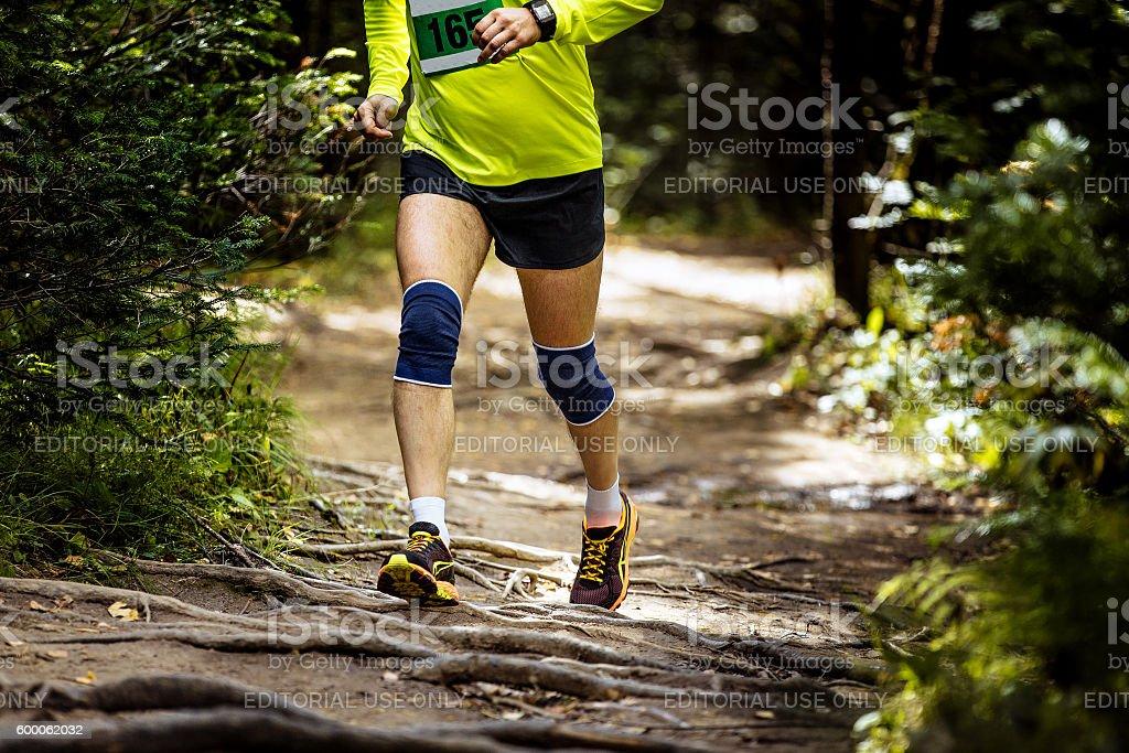 athlete marathon runner running in woods stock photo