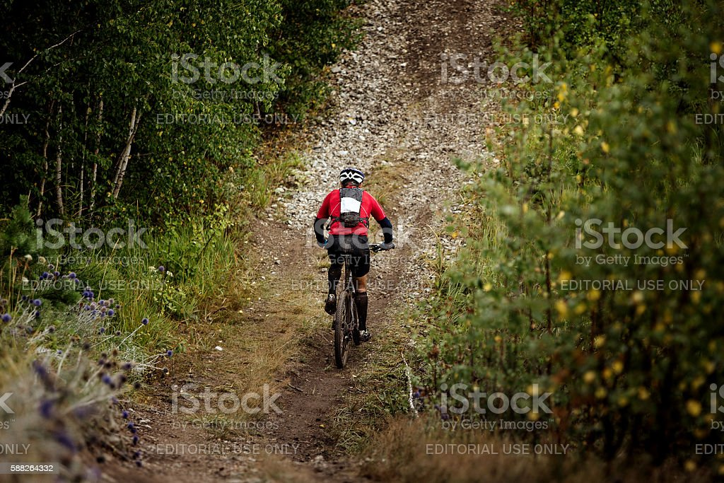 athlete mountainbiker rides a bicycle on a mountain trail royalty-free 스톡 사진