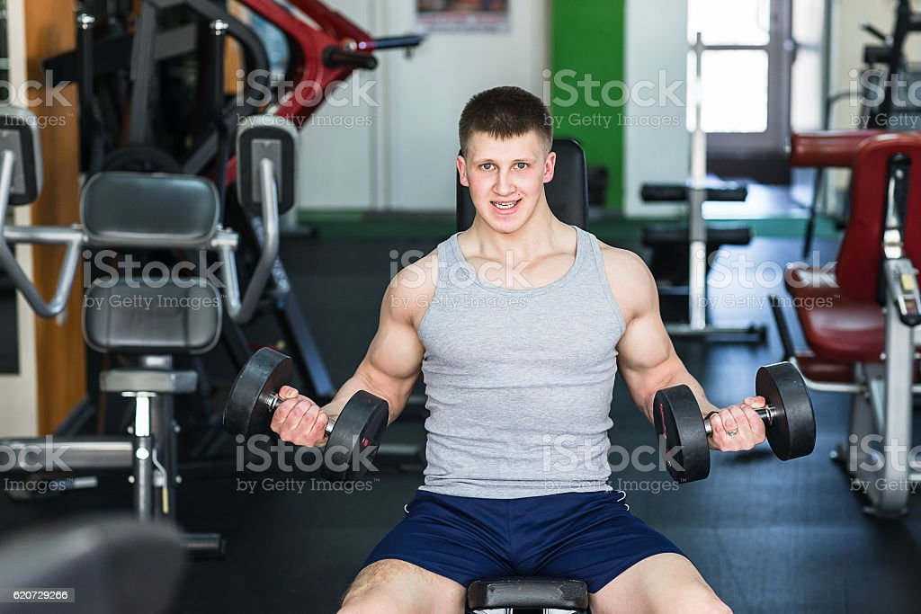 Athlete muscular bodybuilder training stock photo