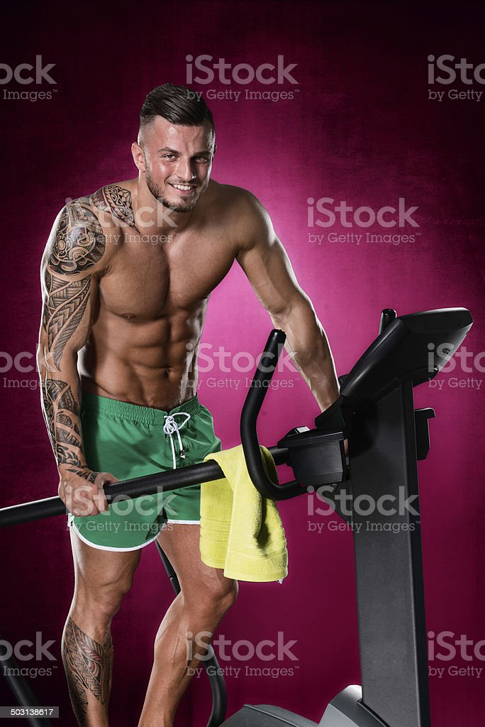 Athlete on stepping machine royalty-free stock photo