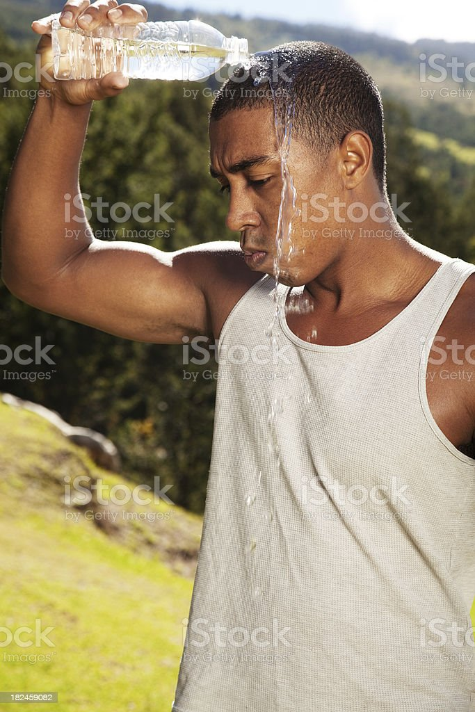 Athlete Pouring Water On His Head royalty-free stock photo