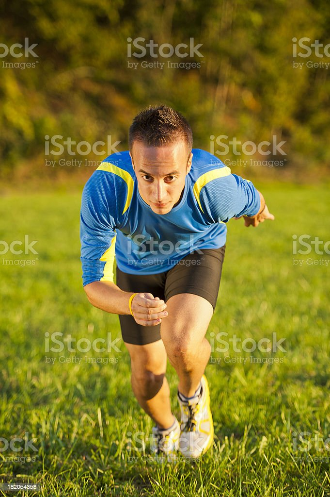 Athlete practicing start royalty-free stock photo