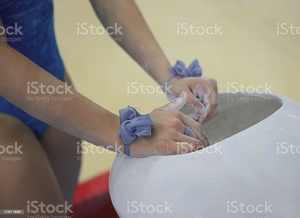 Athlete prepares for bars royalty-free stock photo