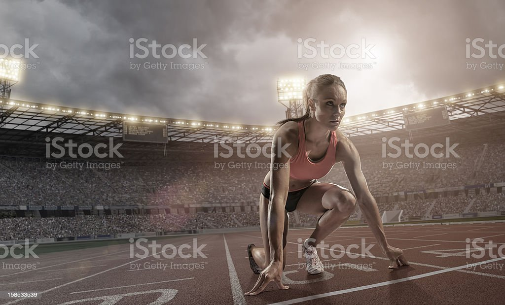 Athlete Preparing To Race stock photo
