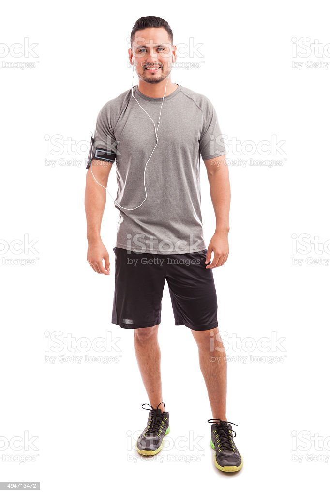 Athlete ready to workout with music stock photo