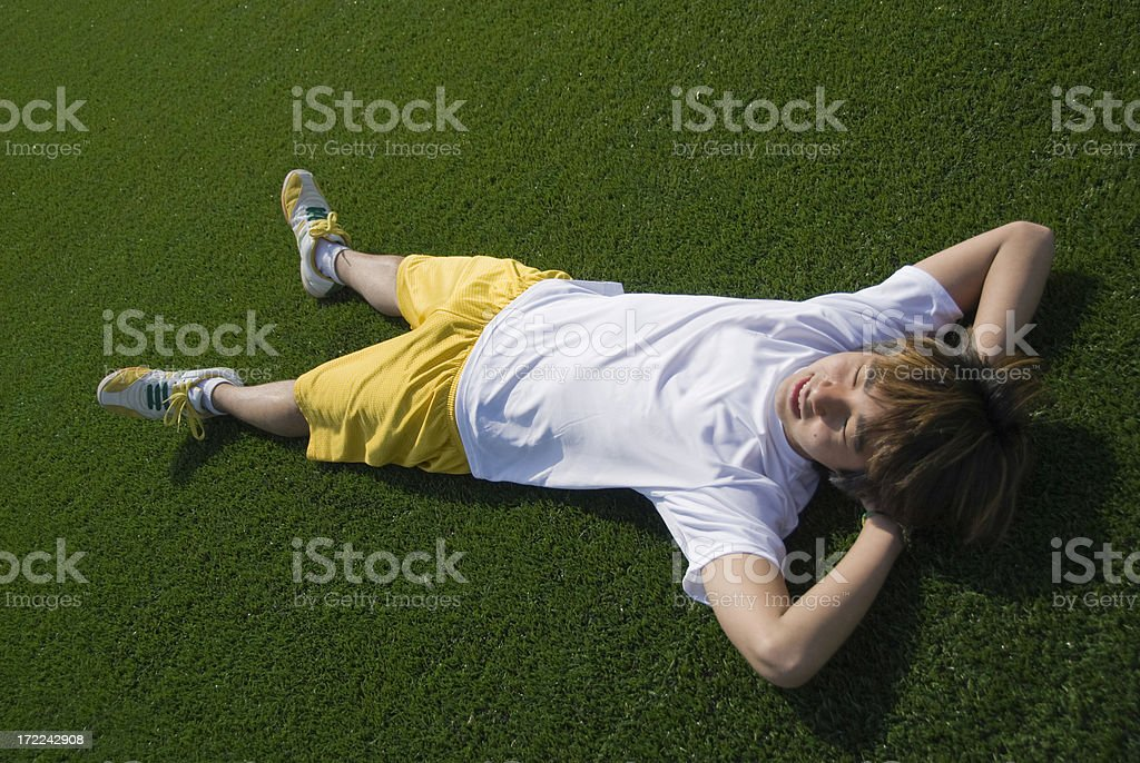 athlete relaxing stock photo