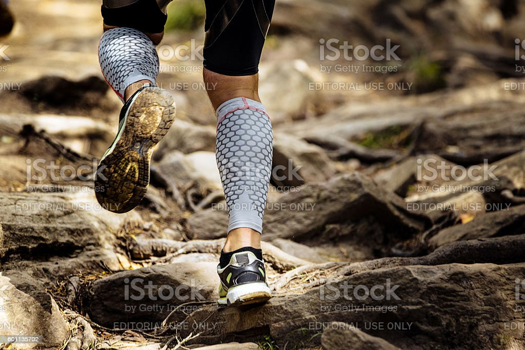 athlete runner runs rocks in mountain royalty-free 스톡 사진