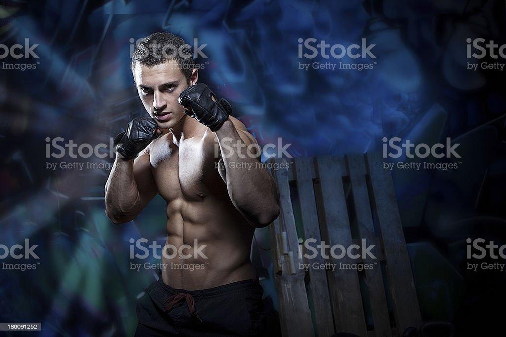 Athlete shadow boxing stock photo