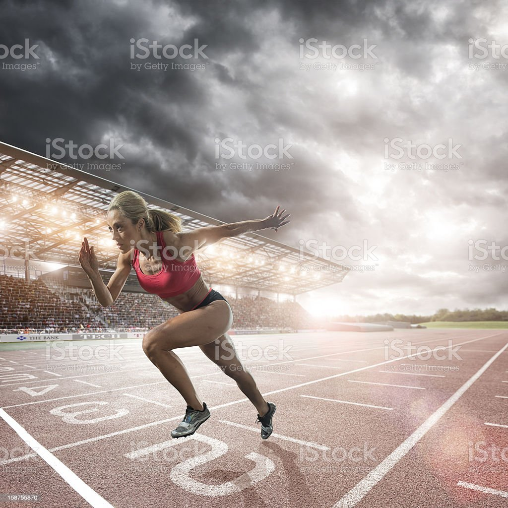 Athlete Sprint Start royalty-free stock photo