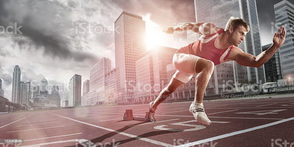 athlete in city stock photo